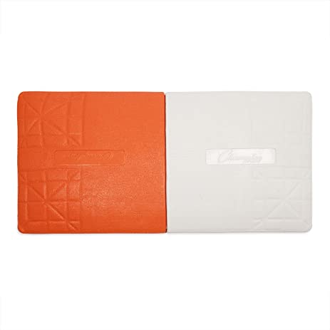 Orange U0026 White Double First Base: Champion Sports Pro Rubber Base With  Ground Anchor System  Double First