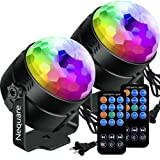 [2-PACK]Nequare Party Lights Sound Activated Disco Ball Strobe Light 7 Lighting Color Disco Lights with Remote Control for Bar Club Party DJ Karaoke Wedding Show and Outdoor (Color: 2 PACK)