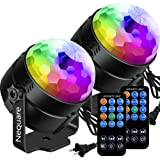 [2-PACK]Nequare Party Lights Sound Activated Disco Ball Strobe Light 7 Lighting Color Disco Lights with Remote Control for Bar Club Party DJ Karaoke Wedding Show and Outdoor