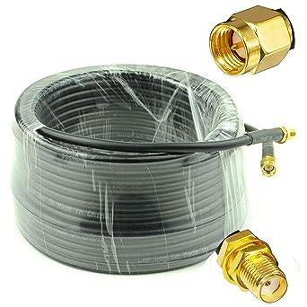 YiLIANDUO - Cable alargador coaxial de 20 my 65 m, macho a hembra, baja pérdida, RG58 cable coaxial 50 ohm, cobre puro, para cámara, radio, antena ...