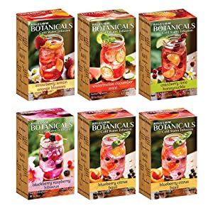Bigelow Botanicals Cold Water Infusion Variety Pack Tea Bags 18 Count Box (Pack of 6), Herbal Infusion, Caffeine Free, 108 Tea Bags Total