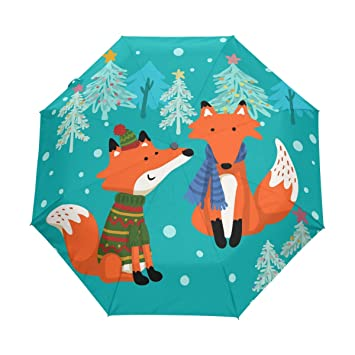 bennigiry Umbrella Cartoon Fox UV anti ligero sombrilla elegante reverso 3 plegable gota resistente paraguas Regalos