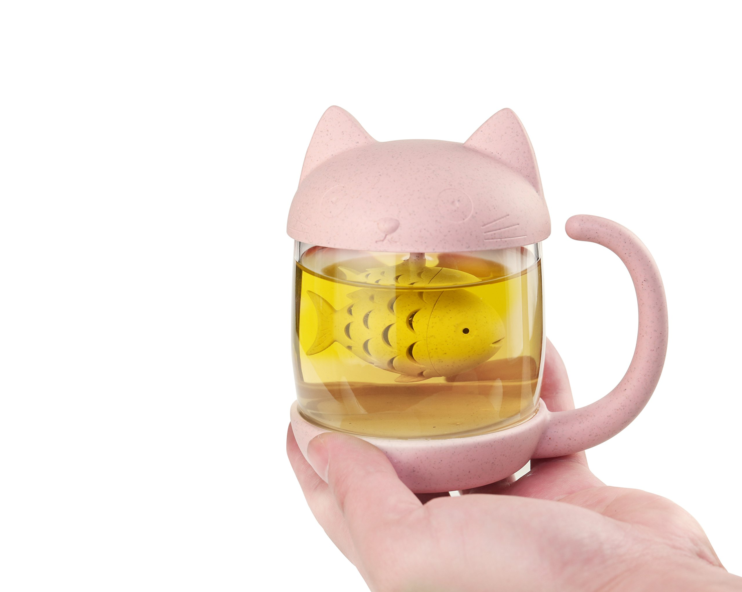 3D Cute Cat Glass Tea Mug; Animal Coffee Mug; Tea Cup With Fish Infuser Filter Strainer;Lovely Kitty Cup ; Novelty ; Home Office Décor (Cute Cat(Pink))