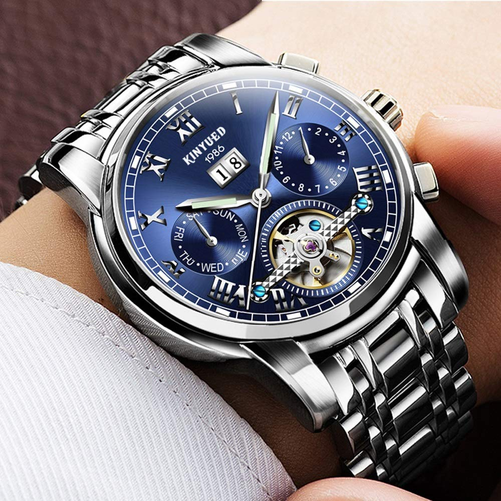 Klocka mekanisk klocka för män multifunktion automatisk armbandsur lätt 30 m vattentät business populär JFYCUICAN 02white