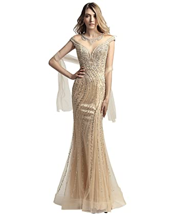 Amazon.com: Sarahbridal Women\'s Crystal Beaded Prom Dresses Long ...
