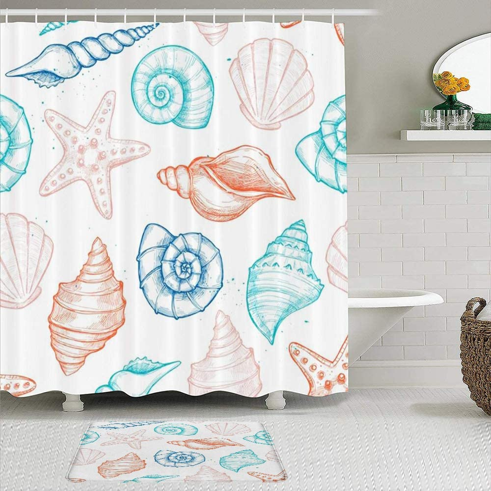 Kissensu Shower Curtain Set Bathroom Accessories Etching Ocean Graphic Reef Hand Vintage Engraving Drawing Coral Sand Single Drawn Star Spiral Bathtub Curtains And Non Skid Bath Mat Amazon Co Uk Kitchen Home