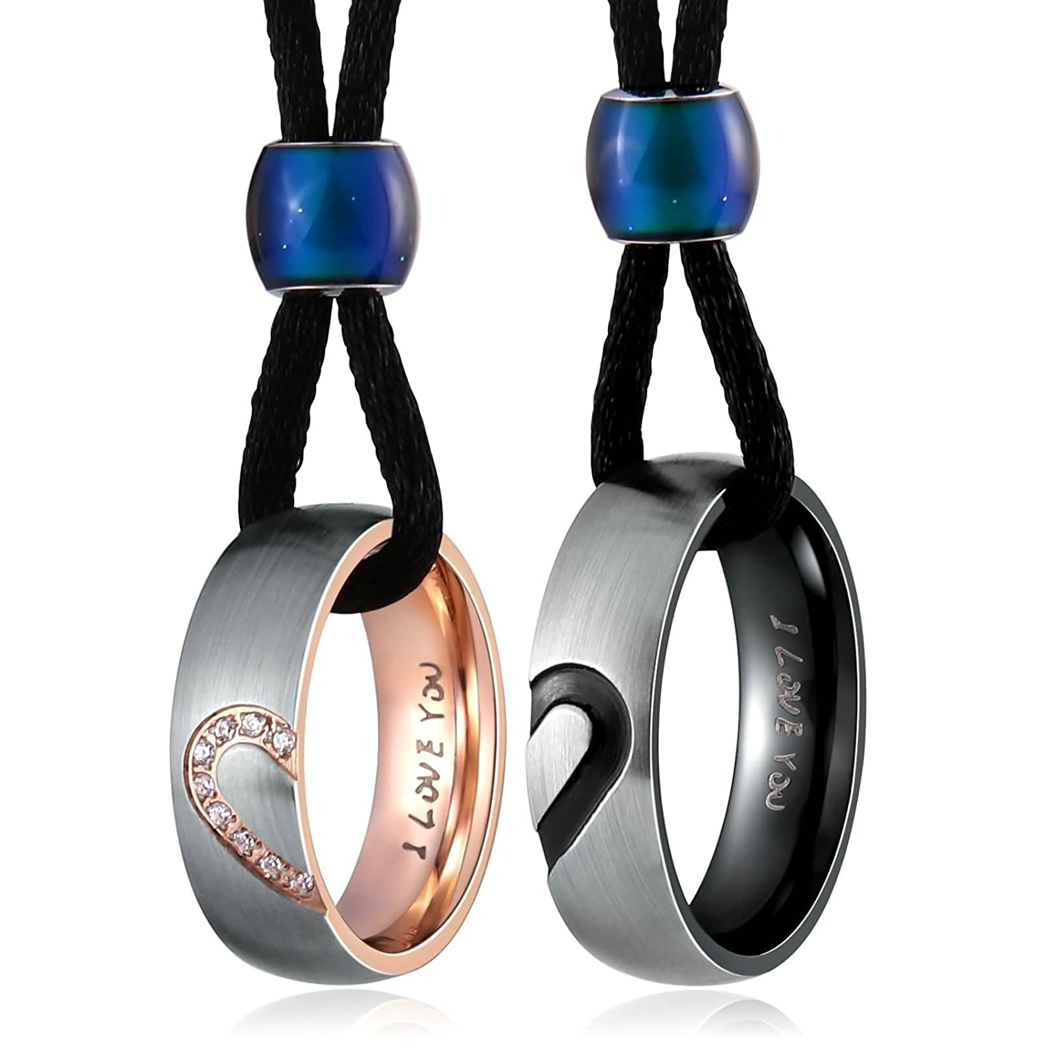 Couples Necklace for Him and Her Stainless Steel Ring Pendant Love Heart Wedding Necklace Set Silver by Aienid   Amazon.com