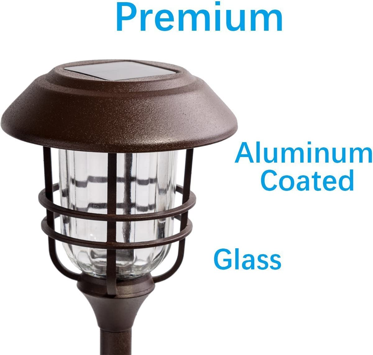 High Lumen Output per LED Easy No Wire Installation GIGALUMI 4 Pack Outdoor Solar Lights Glass and Powder Coated Cast Aluminum Metal Path Lights