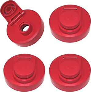 Mason Jar Lids Wide Mouth Plastic 1 Pack - With Flip Cap Screw Top Pouring Spout and Drink Hole - Fits Kerr and Ball Canning Jars - Wet/Dry Food and Liquid Storage - MADE IN USA (Old Glory Red, 4)