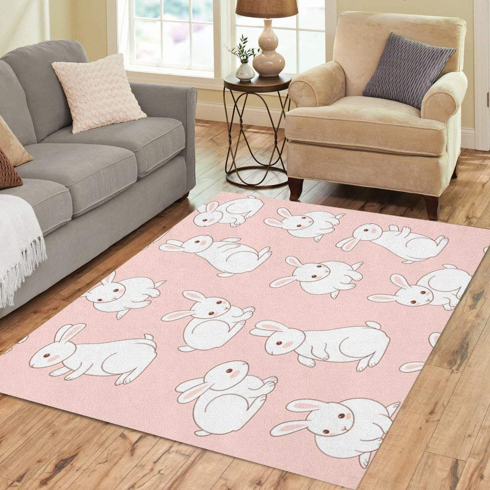 Semtomn Area Rug 2' X 3' Pink Bunny Cute White Little Rabbits Pattern Drawn Home Decor Collection Floor Rugs Carpet for Living Room Bedroom Dining Room