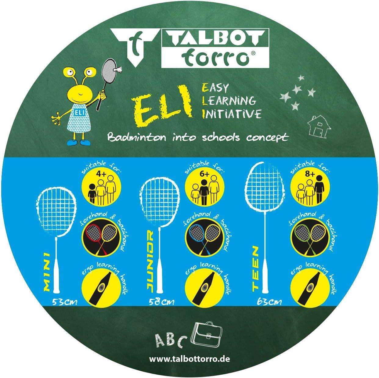 419614 Ideal for Sport and School Training Shortened Length 63 cm Black//Yellow//Green Talbot Torro ELI Teen Badminton Learning Racket Learning Handle Isometric Head