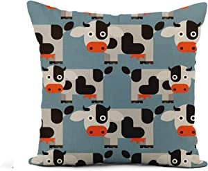 Awowee Flax Throw Pillow Cover Black Cow Pattern Animal Cartoon Cattle Dairy Farm Food 20x20 Inches Pillowcase Home Decor Square Cotton Linen Pillow Case Cushion Cover