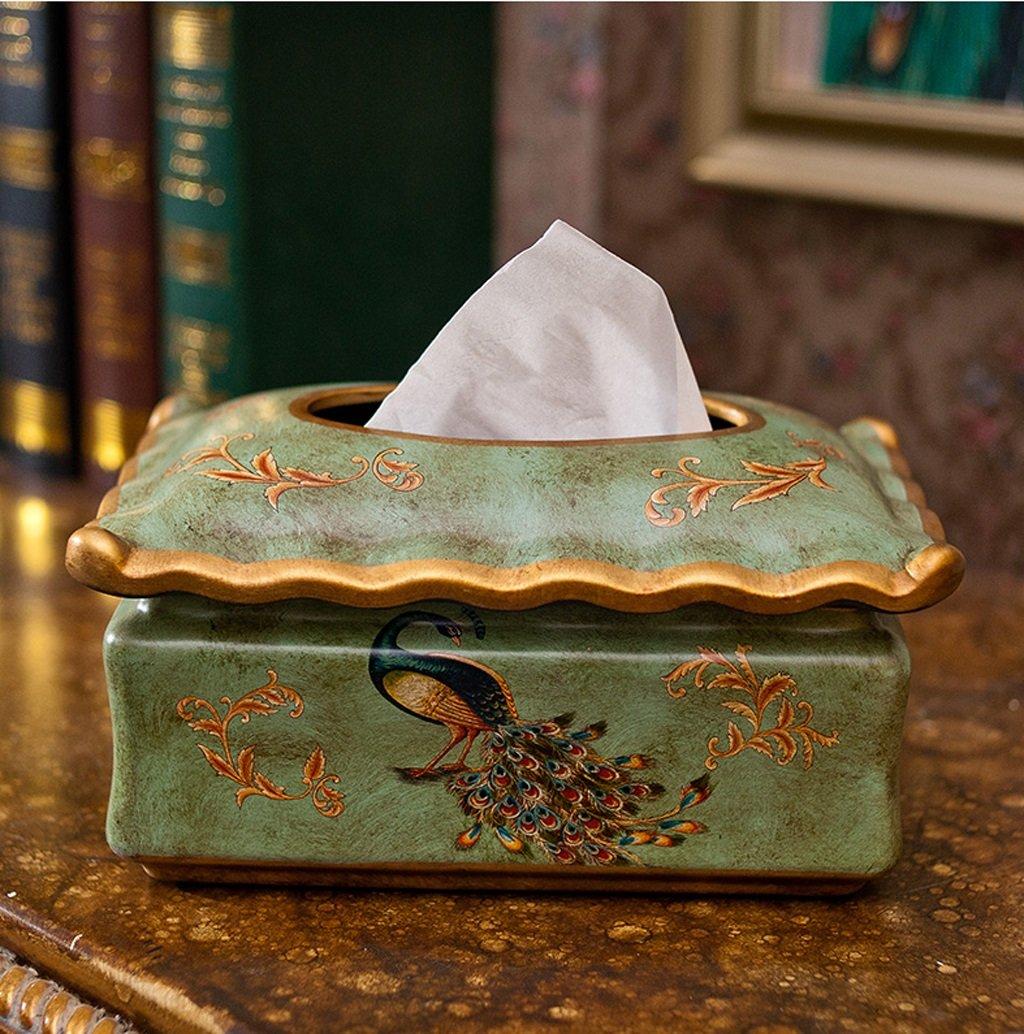 Amazon.com: Hyun times Al estilo europeo jardín flores y pájaros pintados caja de pañuelos de cerámica modelo de la casa creativa decoración de la ...