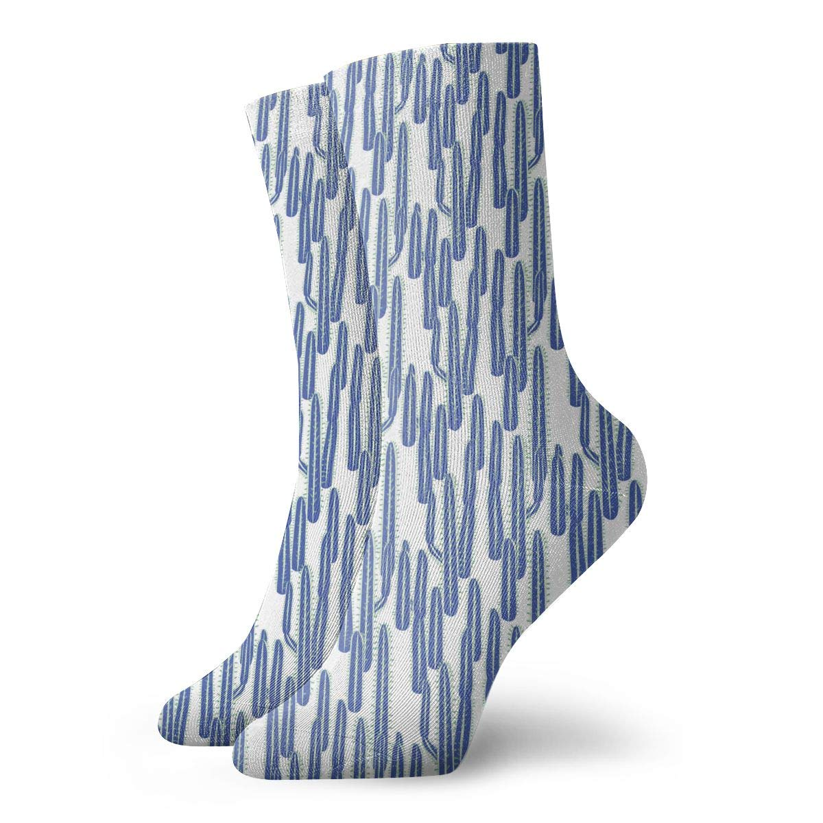 Unisex Cactus Long Blue Plant Athletic Quarter Ankle Print Breathable Hiking Running Socks