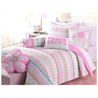Cozy Line Home Fashions Pink Greta Pastel Polka Dot Flower 100% Cotton Reversible Quilt Bedding Set, Coverlet, Bedspreads (Twin - 2 Piece: 1 Quilt + 1 Standard Sham): Home & Kitchen