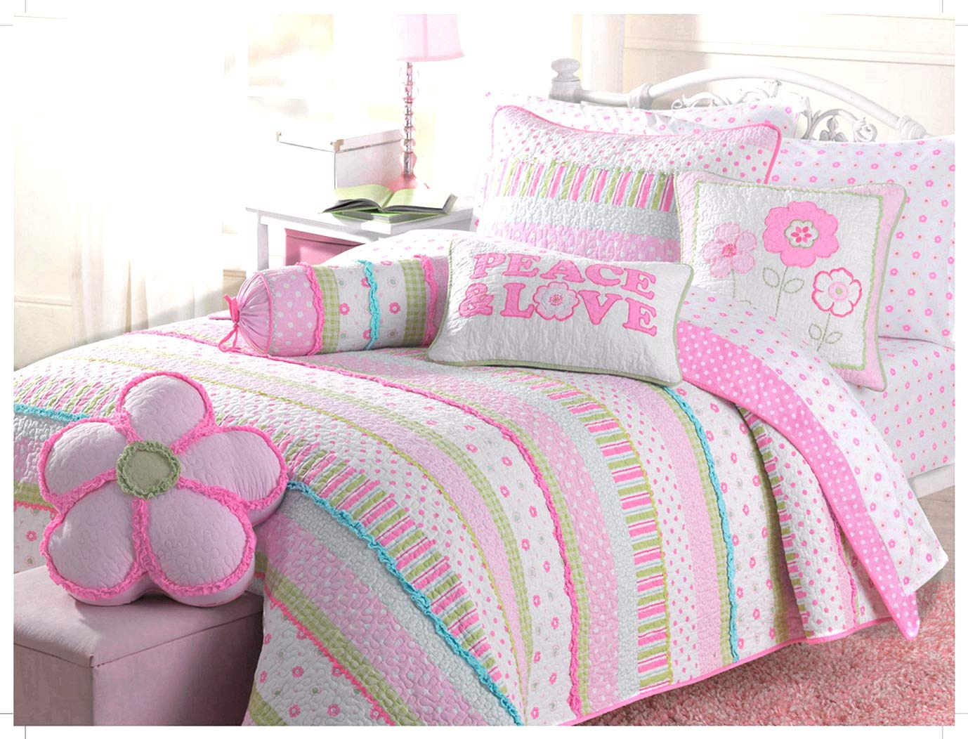 Cozy Line Home Fashions Pink Greta Pastel Polka Dot Green Blue Stripe Flower Pattern Printed Cotton Bedding Quilt Set, Reversible Coverlet, Bedspread for Kids Girls (Pastel Set, Full/Queen -3 Piece)