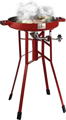 FIREDISC Backyard Bundle Original 36 Tall Portable Propane cooker Red , 4FT Conversion hose with Gauginator, Ultimate Cooking Weapon, and Fireman Red Cover