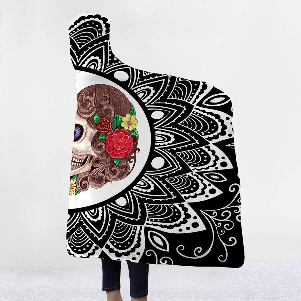 a Polyester Small Viesky 3D g/éom/étrique Motifs Fleurs T/ête de Mort Gothique en Polaire Sherpa /à Capuche Cape Couverture Lors de la Lecture TV Jeu Nap pour Homme//Femme//Enfants