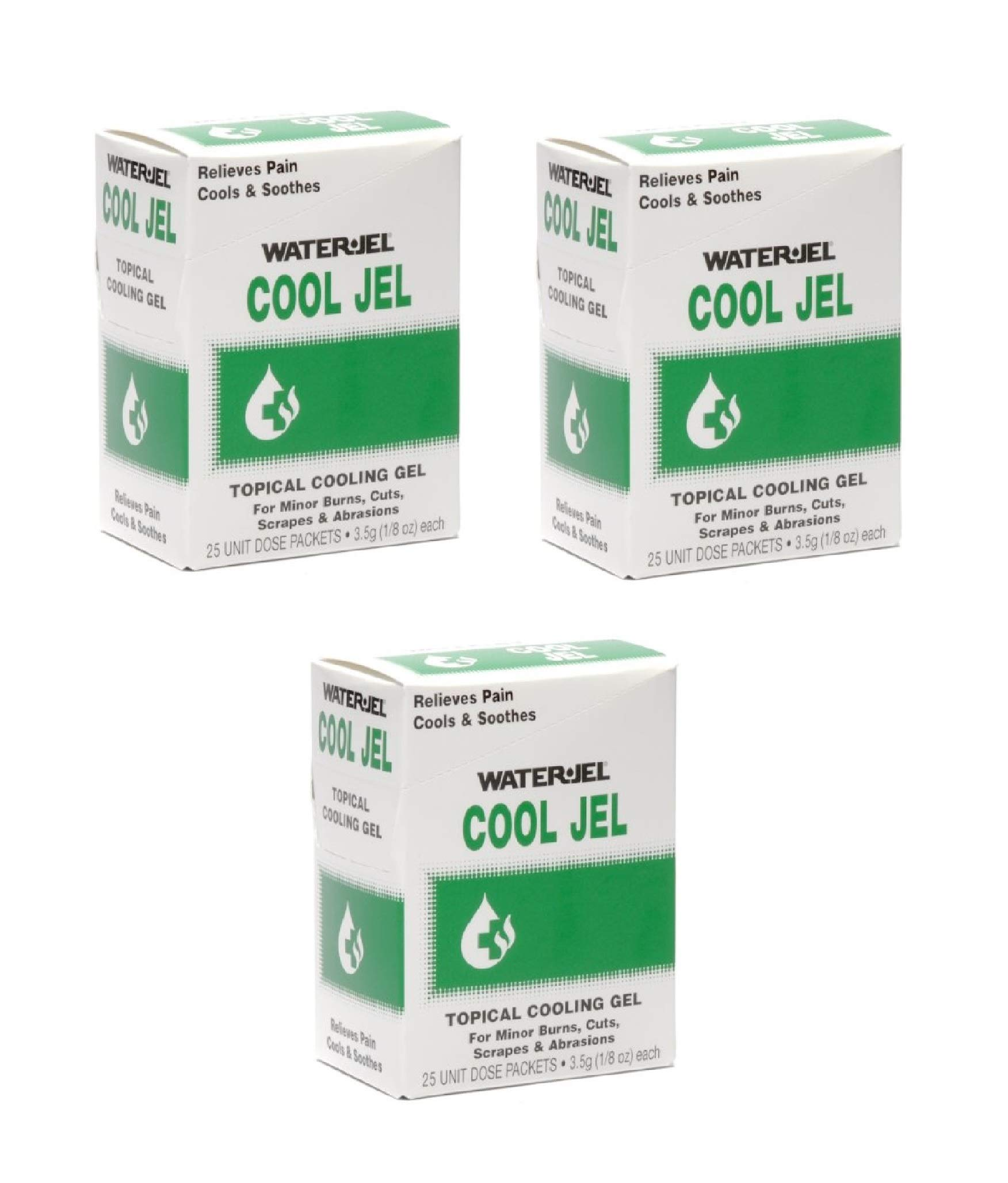 Burn Gel Water Jel Cool Jel Individual Packets, 25 Count (3 Pack)