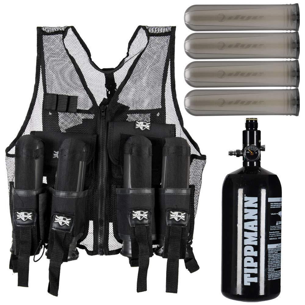 Action Village Tactical Warrior Paintball Vest - Adjustable Light Weight Version Holds 4 Pods & 1 Tank (Vest with Tippmann 48/3000 Tank & 4 Smoke Dye Pods) by Action Village