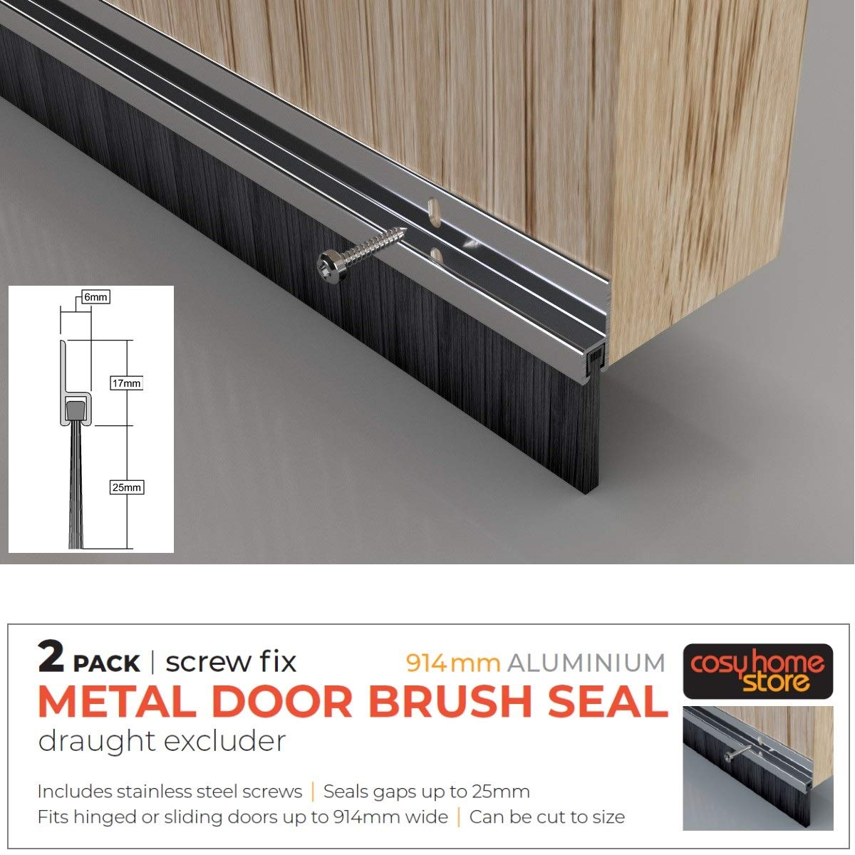 Heavy Duty Brush Seal Draft Excluder 914mm ALUMINIO x 2 Pack: Amazon.es: Bricolaje y herramientas