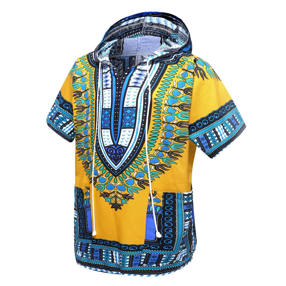 African Dashiki Unisex Traditional Hoodie Top(Yellow)