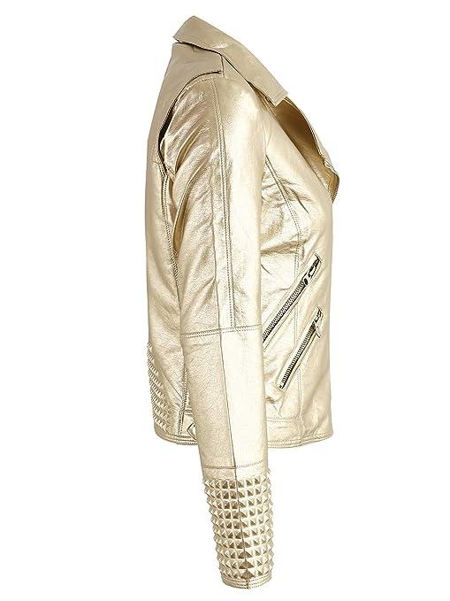 Simplee Apparel Damen Jacke Herbst Winter Cusual PU Leather Zipper Jacke  Glanz Bikerjacke S-XL: Amazon.de: Bekleidung