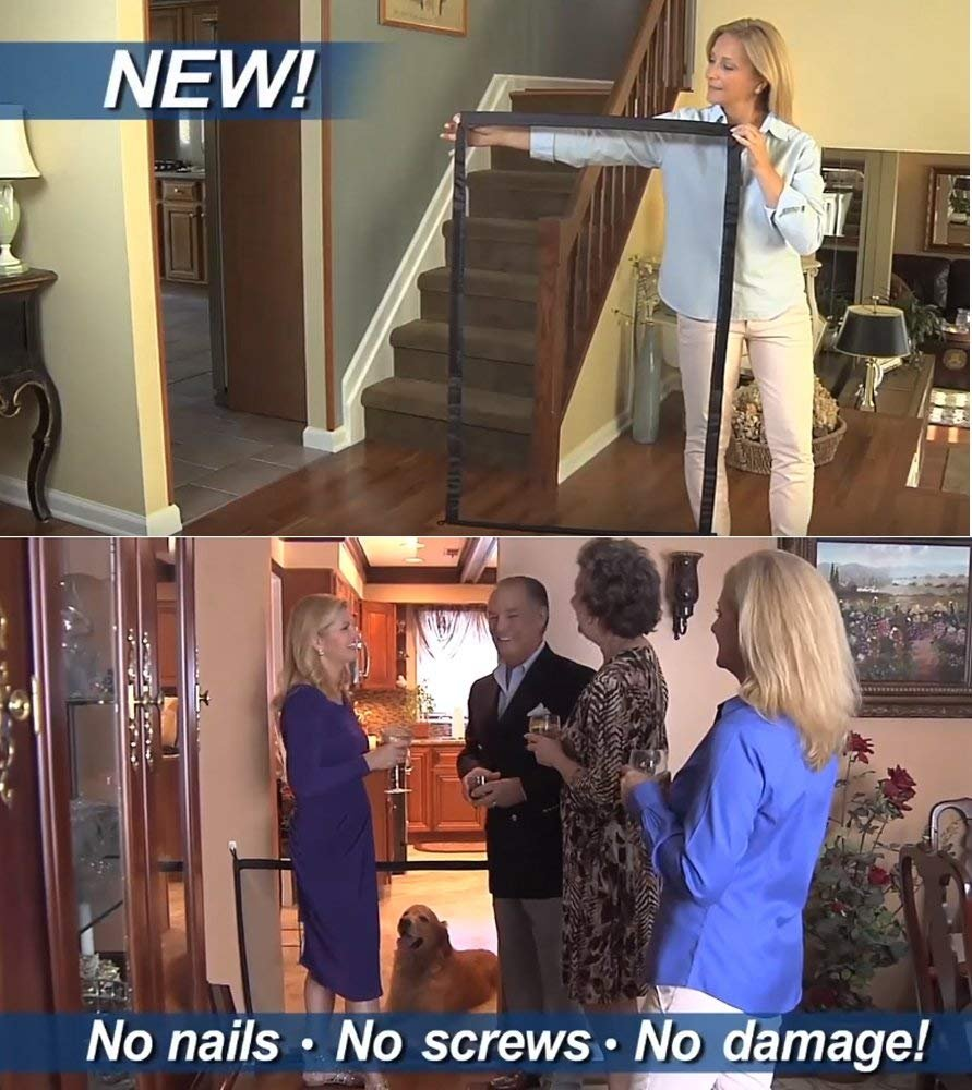 Magic Gate for Dogs - Guard Pet Safety Gate Safety Enclosure - Safe Guard for Pet - Baby Safety Fence - Portable Folding Mesh Gate- for House Indoor Use - As Seen On TV by ROSERAIN (Image #5)