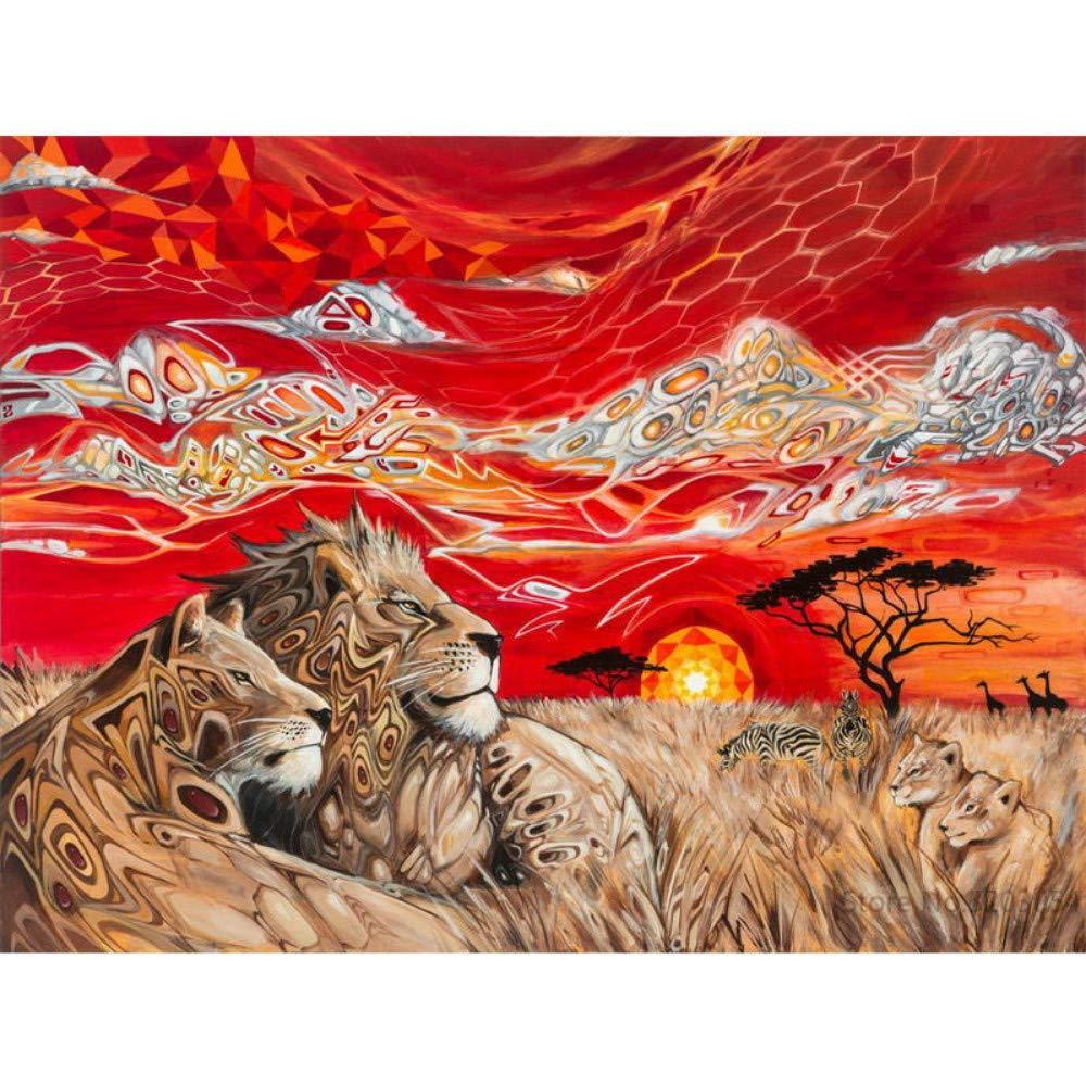 Lhyxh DIY Pintura por Digital Leopardo Tigre Pintura acrílica decoración Moderna decoración del hogar para Sala de Estar