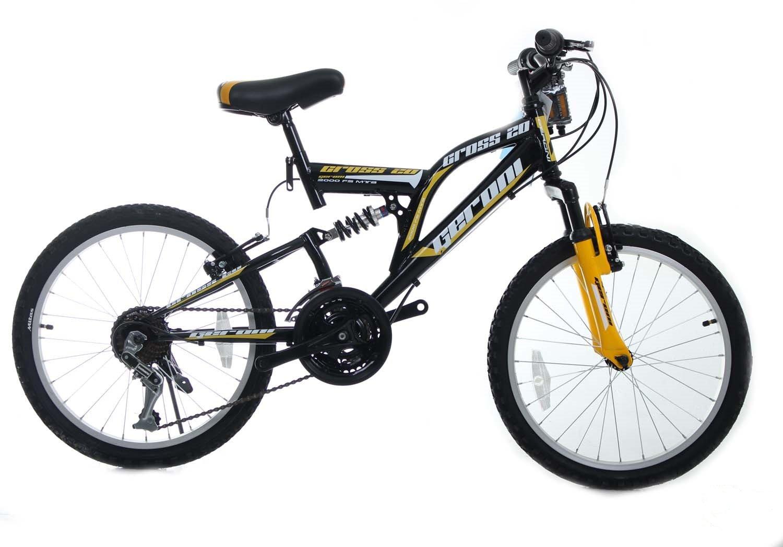 Cross 20 Zoll Fahrrad Vollgefedert Mountainbike MTB 21 Gang Herren Schwarz-Gelb
