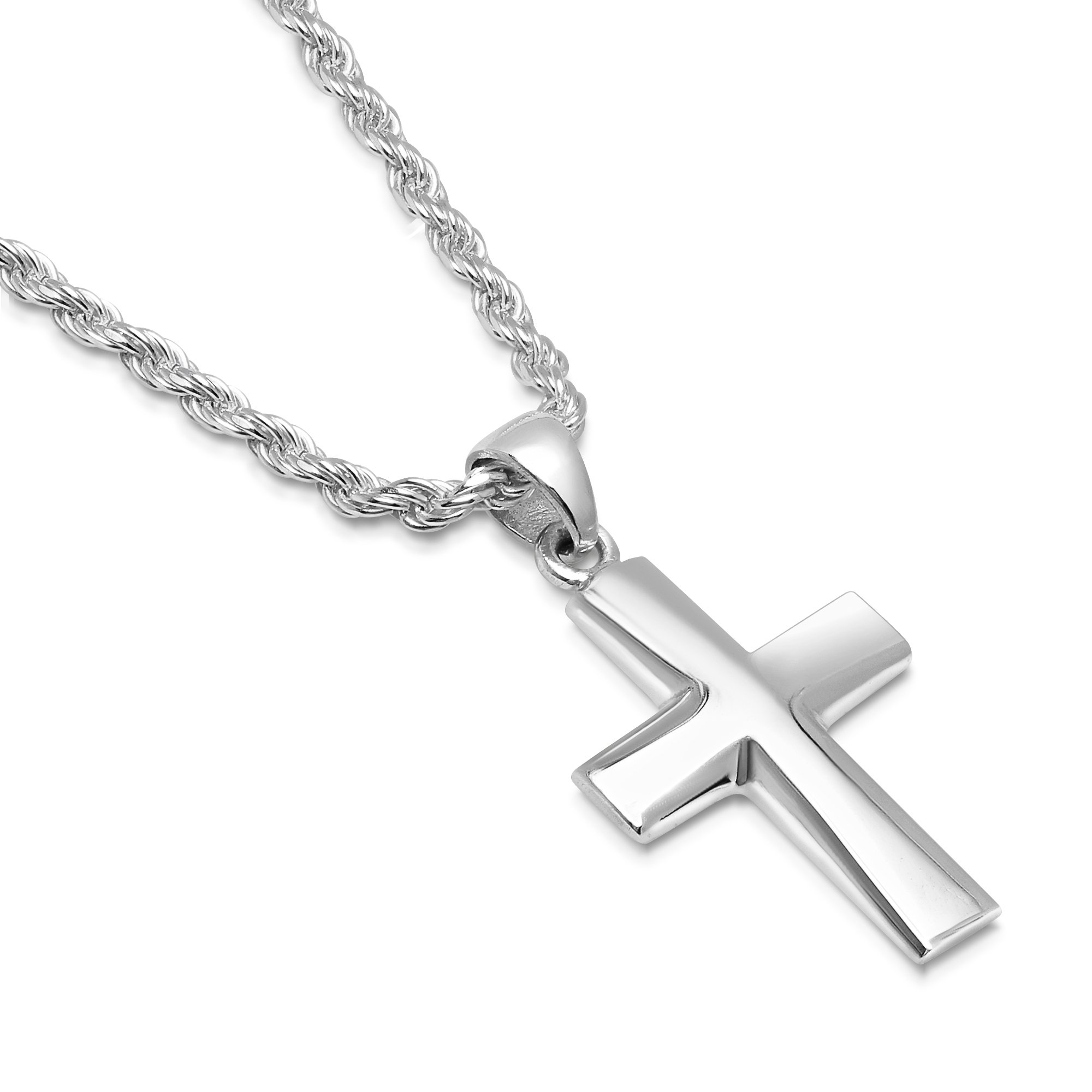 Sterling Silver Plain Cross Pendant Italian Made 2.5mm Rope Chain Necklace - 035 2.5mm - 28''