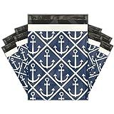 10x13 (100) Ahoy! Nautical Sailor Designer Poly Mailers Shipping Envelopes Premium Printed Bags