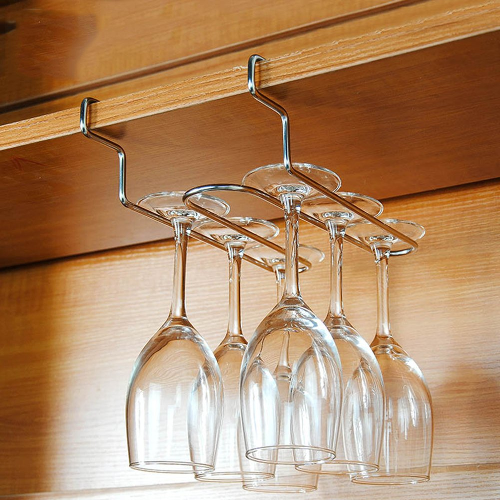 AEVEL Wine Glass Holder Large Stemware Rack Stainless Steel Glass Hanger Champagne Glassware, Can Storage Big Glasses Securely