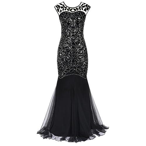 PrettyGuide Women s 1920s Black Sequin Gatsby Maxi Long Evening Prom Dress