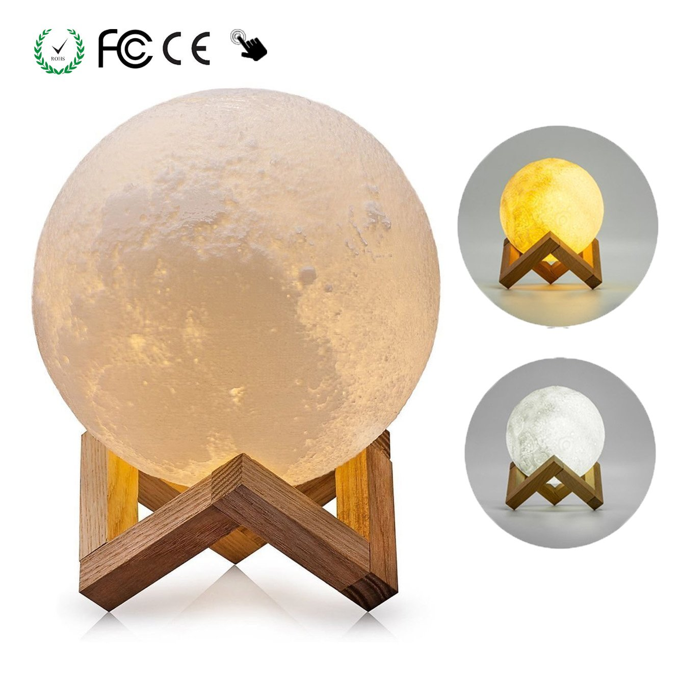 Lampe lune 3d veilleuse led lampe de table usb rechargeable veilleuse lune pour chambre salon - Veilleuse pour salon ...