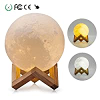 Tatuer LED Moon Lamp Night Lighting Bedside Lights Room Decor Lights Desk Table Lamps 3 colors Dimmable by Touch Control with USB Charging Cable Kids Toddler Birthday Toy Gifts 8CM