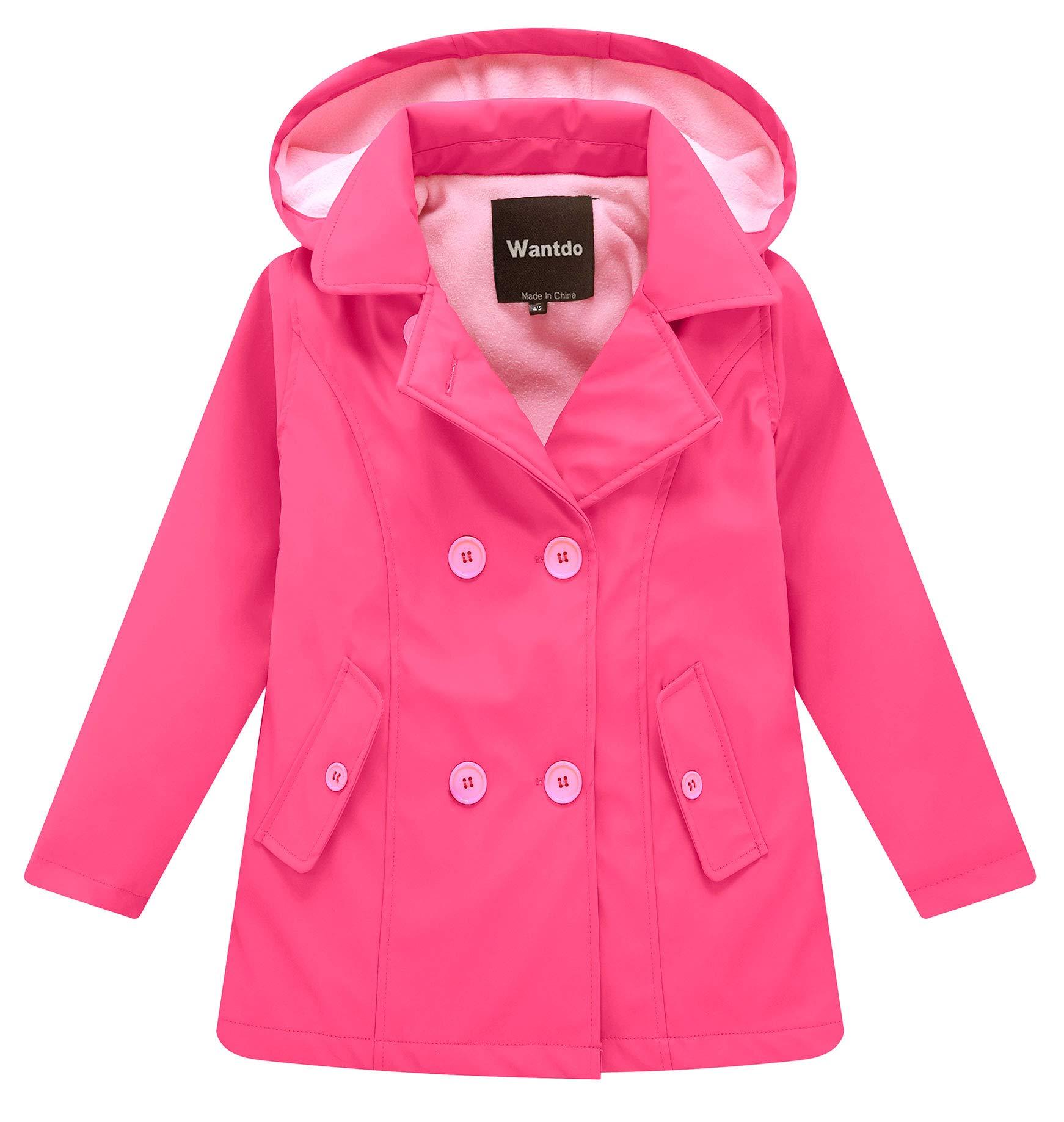 Wantdo Girl's and Boy's Fleece Rain Jacket Waterproof Windbreaker with Removable Hood(Rose Red, 9-10Y) by Wantdo