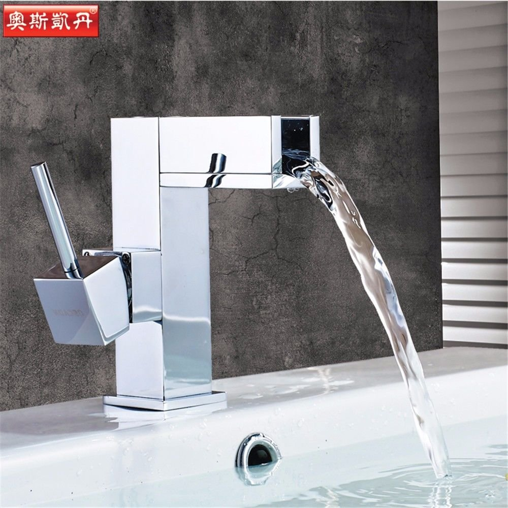 Lalaky Taps Faucet Kitchen Mixer Sink Waterfall Bathroom Mixer Basin Mixer Tap for Kitchen Bathroom and Washroom Copper Single Cold and Hot Waterfall Square