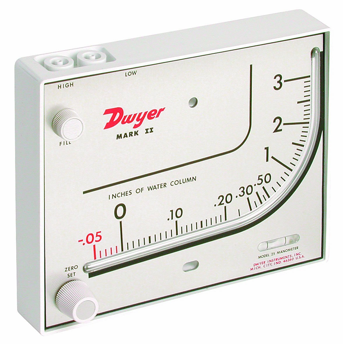 Dwyer Series Mark II 25 Molded Plastic Manometer, Inclined-Vertical Scale, 0 to 3 inH2O Measuring Range, Red Gauge Fluid, 0.826 sp. gr. by Dwyer