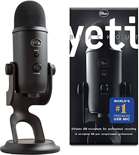 Blue Microphones Yeti Professional Multi-Pattern USB Mic for Recording and Streaming Microfono USB per Registrazione e Streaming su PC/Mac, 3 Capsule del Condensatore, 4 Modalità di Rilevamento, Nero