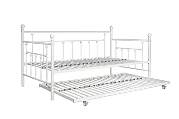 dhp manila metal framed daybed with trundle twin white