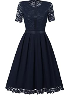 0ffad0e70792 SYLVIEY Womens Cocktail Lace Wedding Homecoming Casual Evening Party Midi  Dress