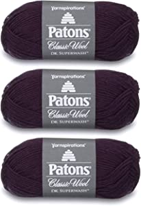 Patons Classic Wool DK Superwash Yarn - Gauge 3 Light - 100% Wool - (3-Pack) - Eggplant - for Crochet, Knitting, and Crafting