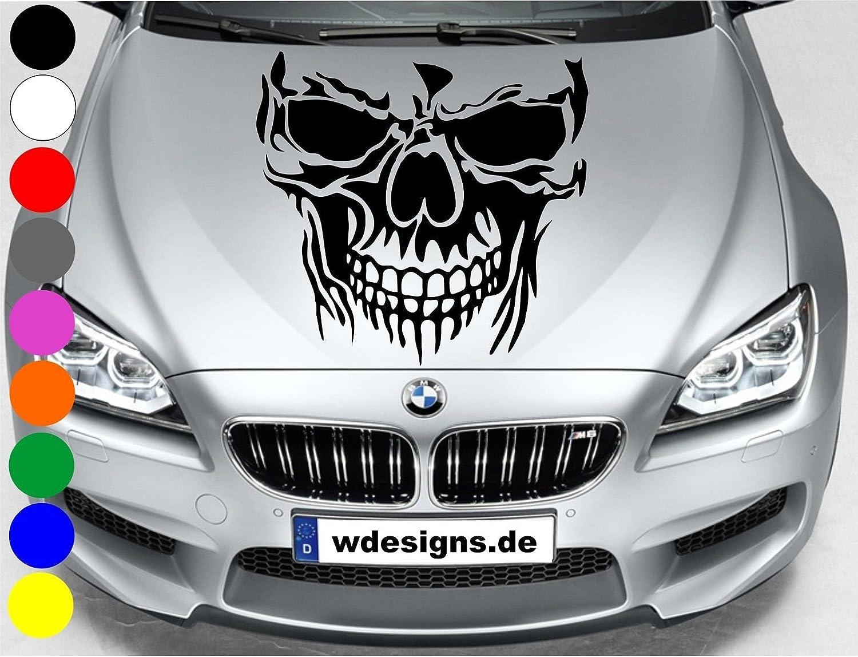 Wdesigns Autoaufkleber Totenkopf Skelett Skull Aufkleber Motorhaube Sticker Heckscheibe Silber Auto