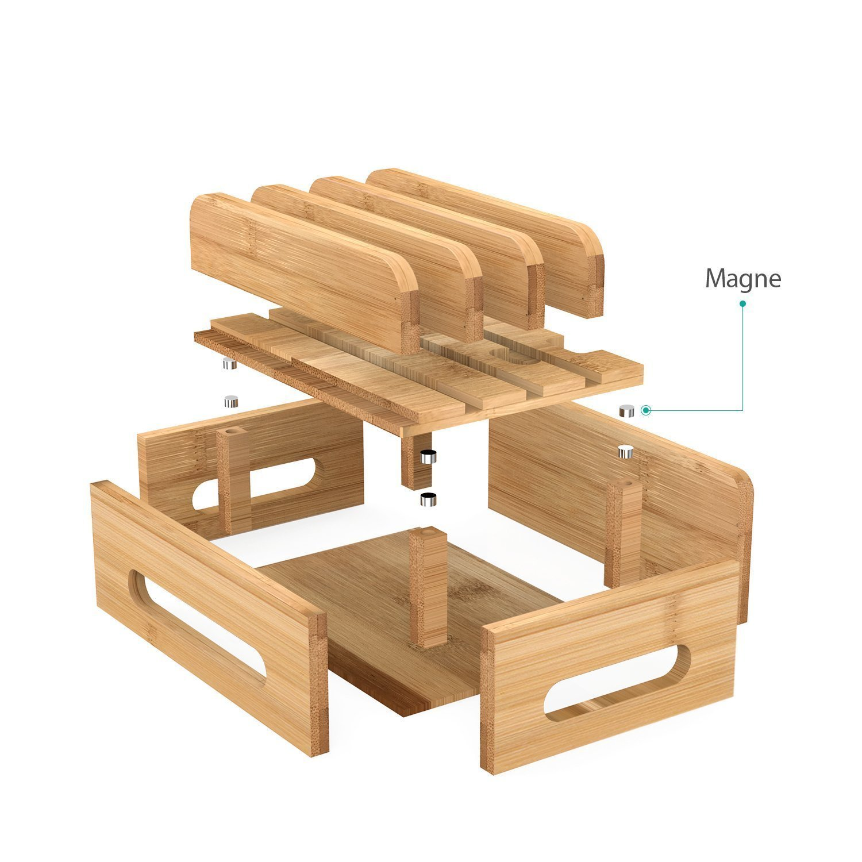 MaxTronic Bamboo Organizer f/ür Uhren-kompatible 4//5//6 Anschl/üsse f/ür Samsung Huawei Sony USB-Ladestation