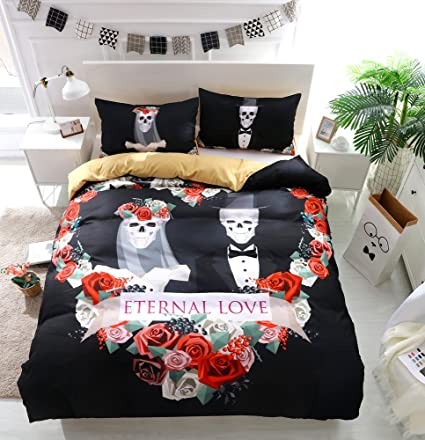 Onlyway 3pcs funda n/órdica establece juegos de cama de la muchacha del tatuaje cubierta del edred/ón y funda de almohada