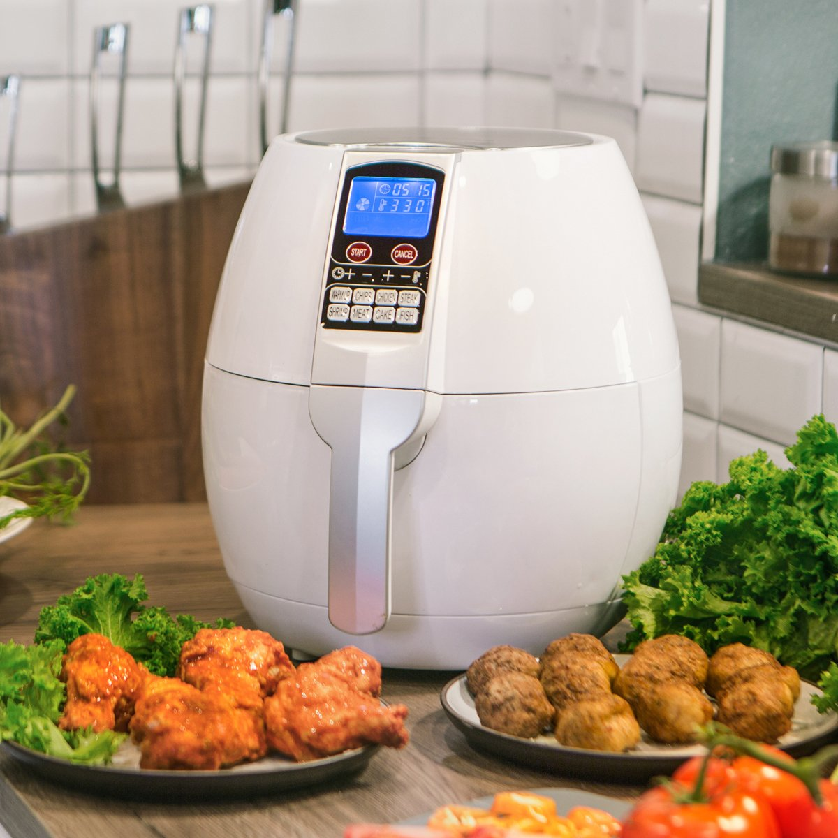 Ensue 3.7 Quart XL Air Fryer Oil-free 1500 Watt Cooker Control Panel LCD w Recipes Book, White