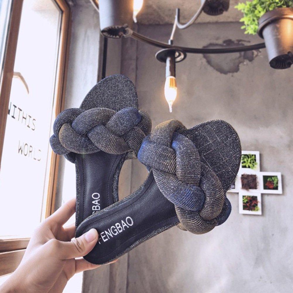 LIXIONG Zapatillas Hembra Verano Moda Ropa Exterior Playa de Arena Fondo Plano Zapato, 2 Colores -Zapatos de Moda (Color : Oro, Tamaño : EU38/UK5.5/CN38/240)