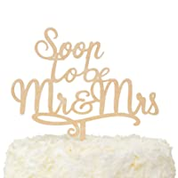 LOVENJOY Gift Boxed Soon To Be Mr and Mrs Engagement Cake Topper Rustic Wood