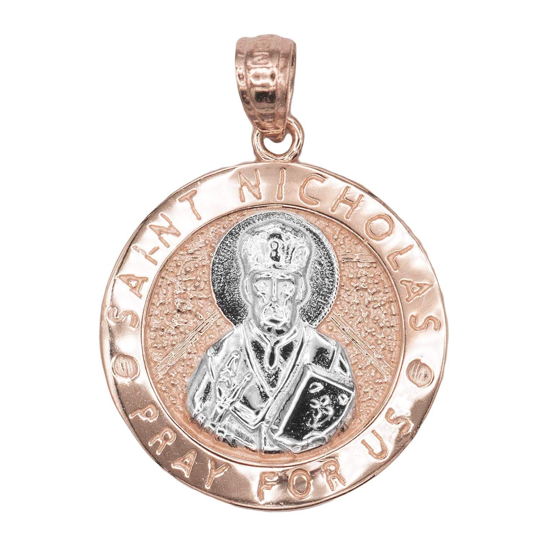Patron of Children Religious Charm Protection Jewelry Pendant 10k Solid Gold Saint Nicholas Medal